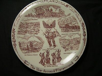 FLAGSTAFF ARIZONA Vintage Vernon Kilns Souvenir Plate USA WONDERFUL!