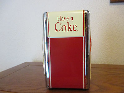 1992 Coca Cola Napkin Holder with coca cola napkins