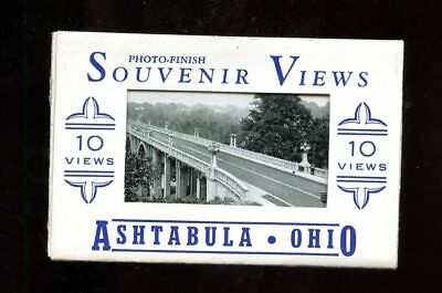 T871 Teich Souvenir Miniature Postcards 10 views Ashtabula Ohio OH buildings