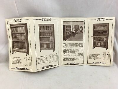 Orig. 1924 Lundstrom Sectional Bookcases Fold-Out Brochure w/ Models & Prices