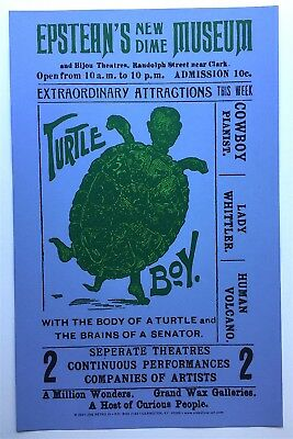 TURTLE BOY At Epstean's Dime Museum Chicago Sideshow Freak POSTER of Trade Card