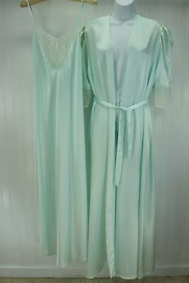 FRENCH MAID Canada Nightgown Robe Vintage Set Pale Aqua Polyester Matching Wide