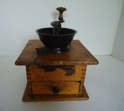 Antique Wood & Cast Metal Coffee Grinder