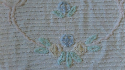 Vintage CHENILLE Crib Size Bedspread  Pink Blue Yellow Green Floral Design 38x60
