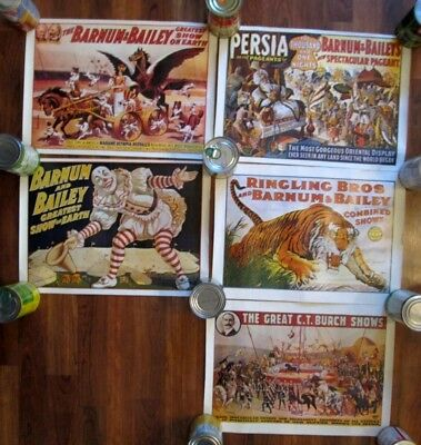 """Lot of 5 Circus Posters Ringling Bros Barnum & Bailey C.T. Birch Shows 17"""" x 12"""""""