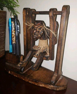 UNIQUE Vintage carved wood tribal African figure pen / cigarette holder