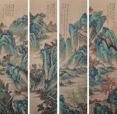 Four Chinese Old Wang Yuanqi Scroll Painting Landscape 74.8""