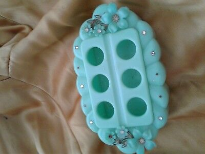Vintage 50s Brass Footed Seafoam Plastic Scalloped 6 Tube Vanity Lipstick Holder