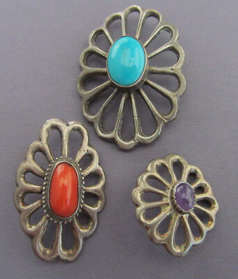 Vintage (3) Old Pawn Sterling Sand Cast Coral, Turquoise, Amethyst Buttons