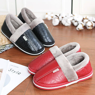 Women's Winter Warm Fur Lined Leather Slippers Soft Cotton Indoor House Shoes