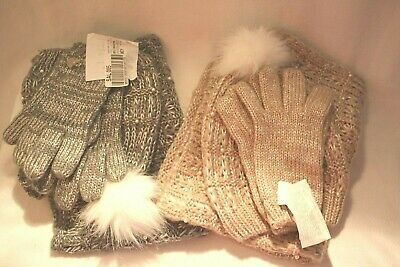 Betsey Johnson 3 pc Sock hat, scarf, gloves set pink and Gray available