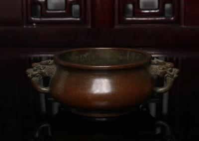 Old Chinese Bronze Incense Burner Double Dragons Xuande MK