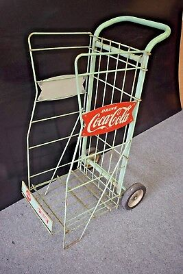 Coca Cola Fishtail Cart Rack Green Wheeled Metal Coke Advertising Display
