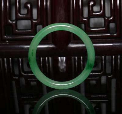 Chinese Carved Green Jadeite Jade Bracelet 2.36""