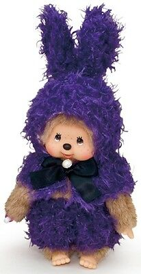 Monchhichi S Size Plush MCC Amimal Rabbit Ear Cape Blue Bunny ~~ FREE SHIP ~~