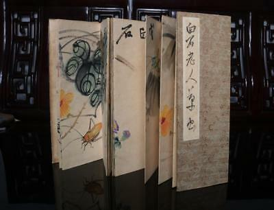 Chinese Old Qi Baishi Woodcut Scroll Album Book Painting Landscape 106""