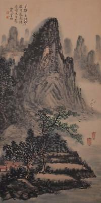 Chinese Old Huang Binhong Scroll Painting Scroll Landscape 77.17""