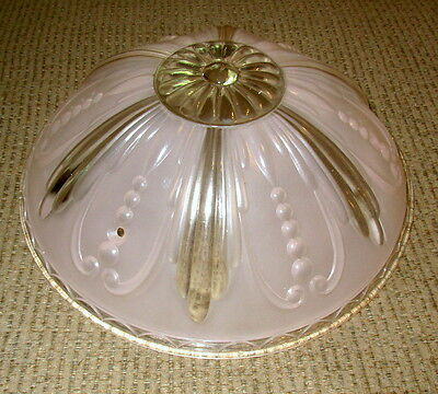 Vtg Art Deco Ceiling Lamp Fixture Bowl Chandelier Frosted Glass PINK & CLEAR 11""