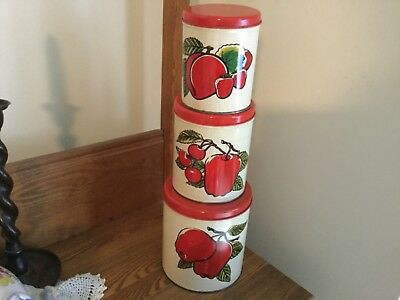 3 Vintage Ballonoff apple canisters, nesting. 1950's