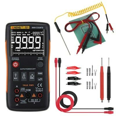 ANENG Q1 True-RMS Digital Multimeter Button 9999 Counts & Analog Bar Graph Yelow