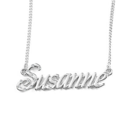 """18ct White Gold Plated Present Eid Gift Name Necklace /""""LAYLA/"""""""