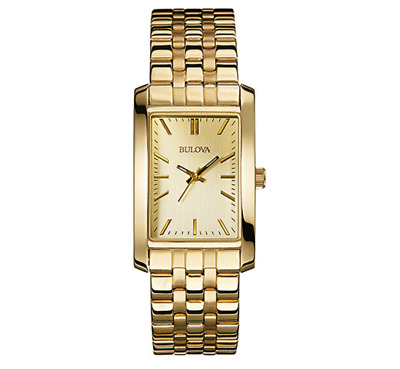 Bulova Women's Quartz Yellow Gold Dial Gold-Tone Bracelet 25mm Watch 97L144