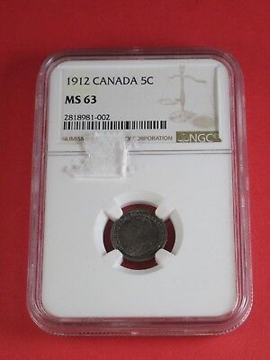 1912 Canadian Five Cent MS63 NGC