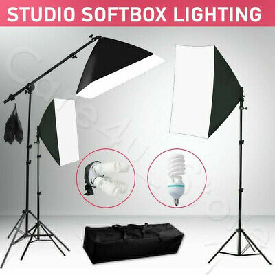2925W Professional 5 Head Softbox+Continuous Lighting Boom Arm Stand Kit Studio