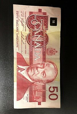 Fifty 50 Dollar banknote bill currency Canadian Canada1988 circulated
