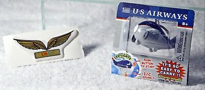 Vintage US Airways Airplane Key Chain & Stick on Wings Patch - New