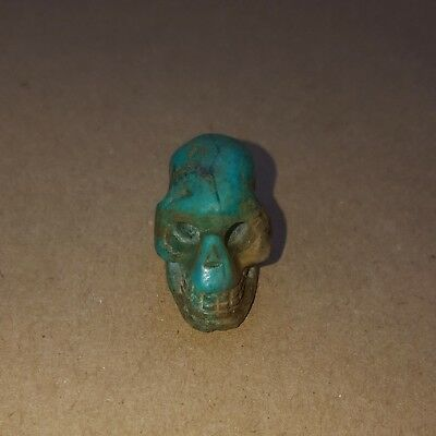 PRE-COLUMBIAN MAYAN GREEN STONE SKULL PENDANT- Antique - Artifact