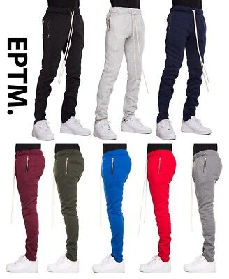 99b6380c New EPTM. Men's Poly Side Ankle Zipper Slim Fleece Techno Track Pants  Joggers