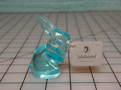 New Fenton Clear Blue Glass Bunny, Rabbit with Original Neck Tag