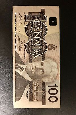 Hundred Dollar banknote bill currency Canadian Canada1988 circulated