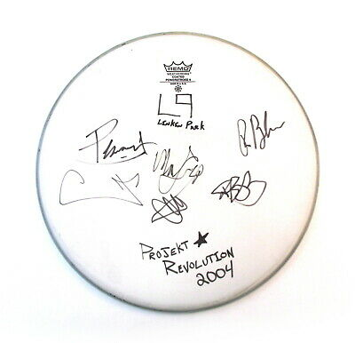 Linkin Park Band Signed Drumhead Projekt Revolution Tour 2004 Autographed
