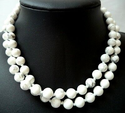 """Stunning Vintage Estate Individually Knotted Stone 31"""" Necklace!!! 1545E"""