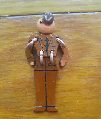 WWII Sweetheart Jewelry Pin Articulated Carved Bakelite Army Infantry Soldier