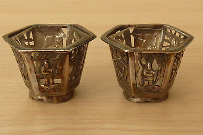 Beautiful Pair of Vintage Signed Chinese Silver Salts & Glass Liners