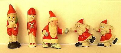 4 Vintage Santa Claus 1 Toy Soldier Christmas Bisque Japan Penny Doll 1.5 - 2.5""