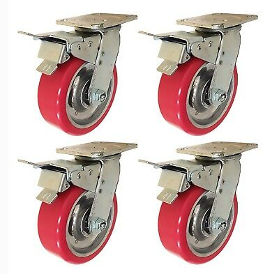 "6"" x 2"" Aluminum wheel Casters - 4 Swivels with Total Lock Brake"