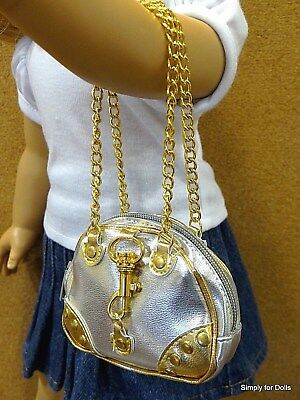 """GOLD & SILVER metallic DOLL PURSE BAG fits 18"""" AMERICAN GIRL Doll Clothes"""
