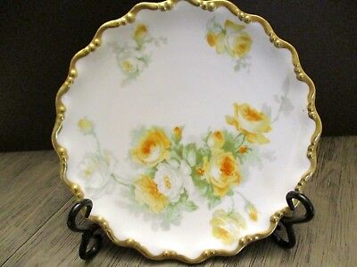 Antique Limoges France dishes  Coronet dinnerware gold trim yellow roses
