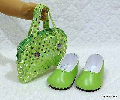 """**SALE** 2pc LIME GREEN DOLL SHOES & Sequin PURSE SET fits 18"""" AMERICAN GIRL"""