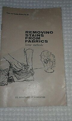 Vintage STAIN REMOVAL Booklet FARMERS BULLETIN 62 US Dept of Agriculture 1961