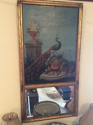 ANTIQUE 18th / 19th CENTURY CHINESE EXPORT PEACOCK PAINTING WITH MIRROR