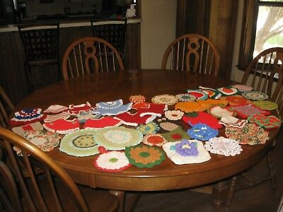 Lot of 42 Vintage Crocheted Pot Holders and Doilies
