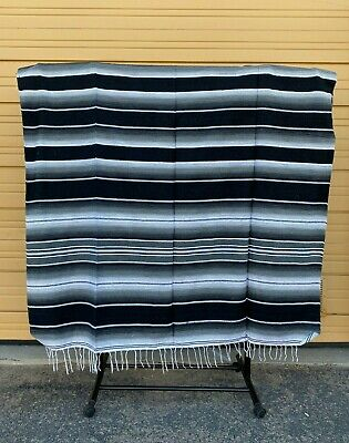 Serape XXL,5' X 7',Mexican Blanket,HOT ROD, Seat Covers,Motorcycle,BLACK & WHITE