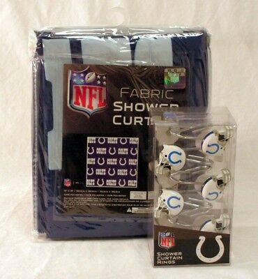 Indianapolis Colts NFL Fabric SHOWER CURTAIN And RINGS Set