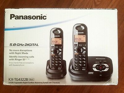 NEW Panasonic KX-TG4322B 5.8 GHz Dual Handsets Single Line Cordless Phone