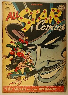 """All Star Comics #34 (Apr-May 1947, DC) """"The Wiles of the Wizard"""" Justice Society"""
